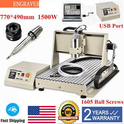 USB 1500W VFD CNC 6040T Router 3 Axis Engraver metal Milling Drill Machine UPS