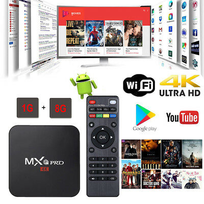 MXQ PRO Android 7.1 1G+8G QUAD 4K 3D Smart TV BOX Kodi 17 Movie Media Player