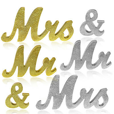 Mr & Mrs Letter Sign Gold/Silver Glitter Wooden Standing Top Table Wedding Decor