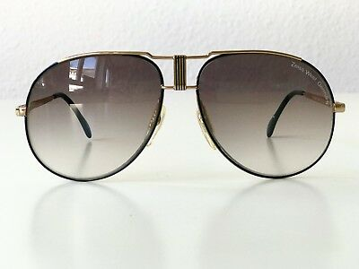 6341181a801e vintage ZEISS 9385 black gold sunglasses Aviator 80s large West Germany no  Cazal