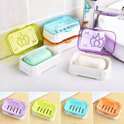 Travel Soap Dish Box Case Holder Crystal Container Wash Shower Home Bathroom
