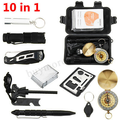 10 in1 SOS Emergency Survival Equipment Kit Tactical Outdoor Hiking Camping Tool