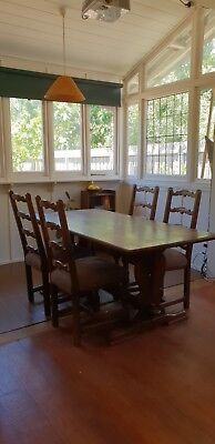 1930s Made in England Four Chairs and Dining Table Suite Jacobean Antique Oak