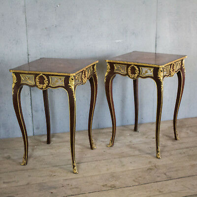 Lovely Pair X2 French Antique Side Tables With Bronze, Bedside, Louis XV PP-item