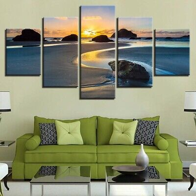 Home Decor Sunset Blue Ocean Sea Beach Canvas Prints Painting Wall Art 5PCS