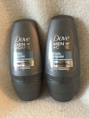 DOVE Men Care COOL FRESH 2 X Roll-On Anti-Perspirant 48H - 50ml each
