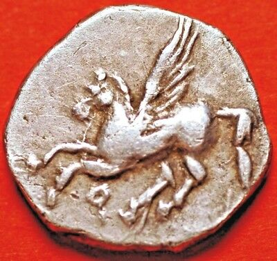 350-306 BC Ancient Corinth Silver Drachm Head of Aphrodite and Pegasus flying