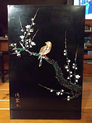 Vintage Black Lacquer Mother of Pearl Inlay Asian Wall Hanging Plaque Tree Birds