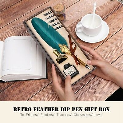 Vintage Green Quill Dip Pen Feather Pen +Ink Bottle +5 Nibs Xmas Gift With Box