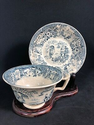 Antique Tea Cup & Saucer Unknown Mark Very Ornate Blue White 15E