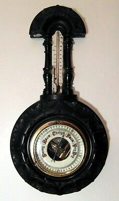 Antique Victorian Black Forest Style Ceramic Faced Barometer/Thermometer  Spares