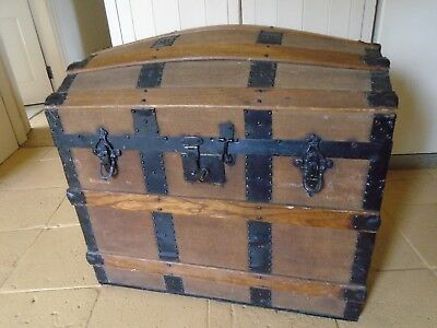 Stunning Antique Canvas Covered Wooden / Metal  Dome Top Trunk - Inner Top Shelf