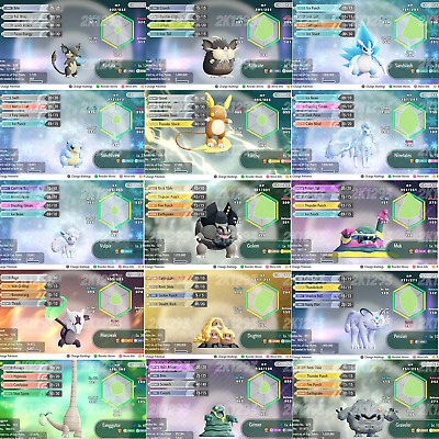 Pokemon Lets Go Pikachu & Eevee All Shiny Alolan Pokemon 6IV Max AV Switch