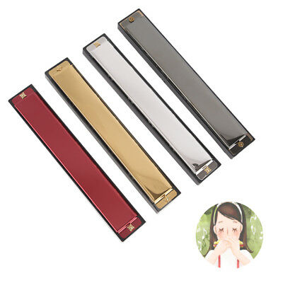 Tremolo Harmonica Metal 24 Holes With Case Mouth Organ Key of C For Beginner FG