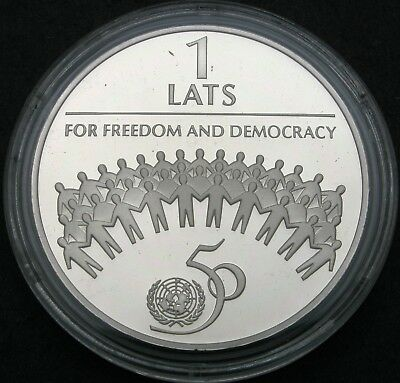 LATVIA 1 Lats 1995 Proof - Silver - 50th anniversary of the United Nations *