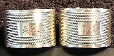 Vintage Sterling Silver Napkin Ring Pair,1945,Emily Viners,Sheffield,-70.47g