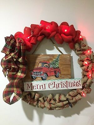 Christmas Wreath With An Old 1956 Chevy Truck