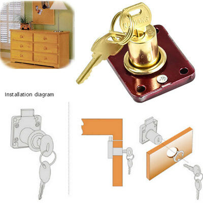 7D0D Wine Red Cupboard Door Lock Stainless Steel Bolt Wooden Door Household