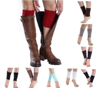Ladies Winter Crochet Knitted Trim Leg Warmers Cuffs Toppers Boot Short Socks