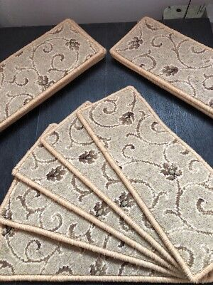 12 100% Wool Ulster Axminster Carpet Stair Tread Pads In Beige