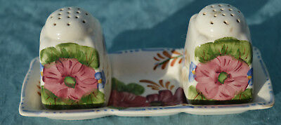 Simpsons Hand Painted Belle Fiore  SALT AND PEPPER WITH TRAY NO STOPPERS