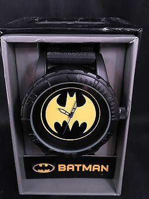 Batman Large Face Bat Symbol Black and Yellow Watch with Black Band NEW