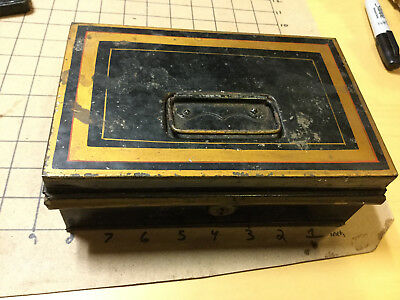 Vintage Original  early metal lock box; no key, top removes when open