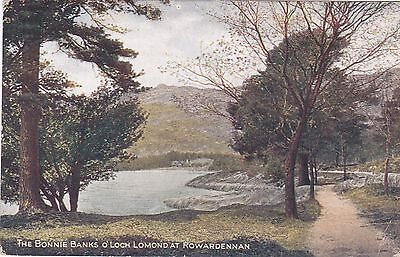 Postcard showing The Banks of Loch Lomand at Rowardennan.