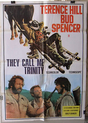 """THEY CALL ME TRINITY (TERENCE HILL) 27x39"""" Original Lebanese Movie Poster 70s"""