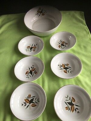 Genuine 1960's Retro Harry Hancock (Tunstall) Fruit Bowl And Six Dishes