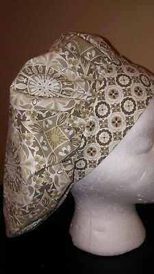 Kaleidoscope Cream Women's Bouffant Surgical Scrub Hat/Cap Handmade