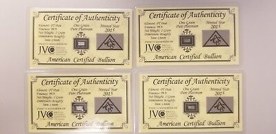 ACB Platinum 1GRAIN PT SOLID X4 BULLION MINTED BAR 99.9 Pure With COA! +