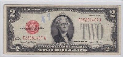 1928G $2 Dollar Bill  Us Note Legal Tender Paper Money  Red Seal
