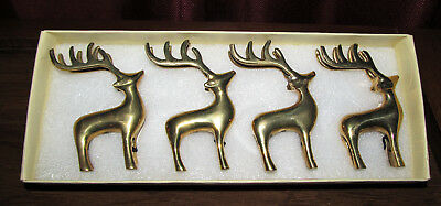 Pottery Barn Reindeer Place Card Holders - Set of 4 - Metal - Gold Plated