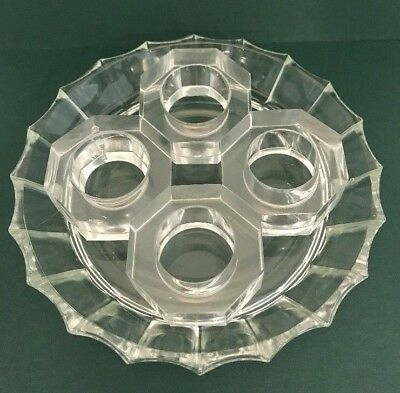 Vintage heavy clear glass Octagon Napkin Rings Set of 4 Mid Century Modern