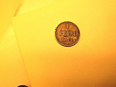 1 Penni 1912 Finland Nicholas Ii Better Than Vf  Coin Rare  Very Collectible