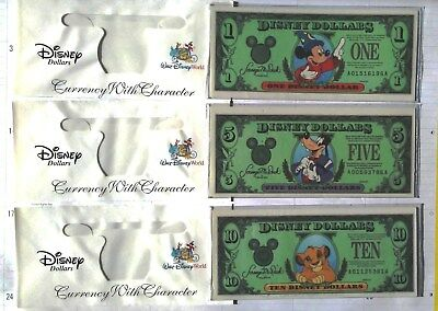 DISNEY DOLLARS Series 1997 $1 $5 $10 MICKEY GOOFY SIMBA 25th Anniversary Mint