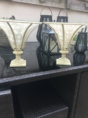 Pair Of Stunning Huge Glass Opaque Centre Pieces 14Inches High X 15Inches Dia
