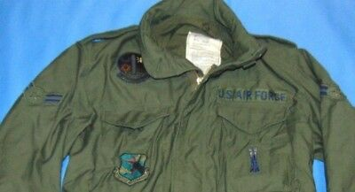 USAF Military Air Force M-65 Field Jacket Coat with Patches 1976  Small Long