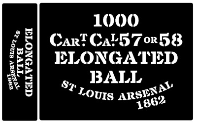 Elongated Ball ammunition box stencils American Civil war (St L)