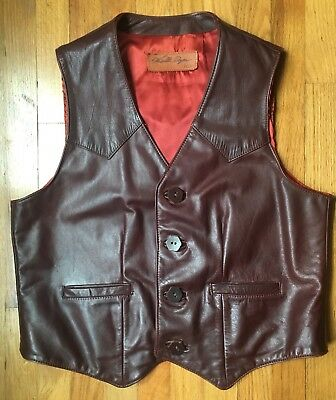 Walter Dyer Leathers Made in USA  Leather Vest size 46 Brown