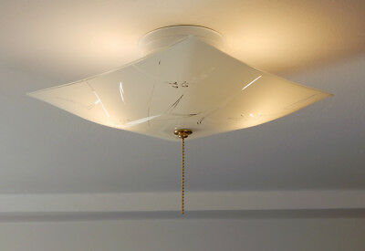 Mid Century Semi Flush Ceiling Light Vintage Glass Shade w New Pull Chain Fixtur