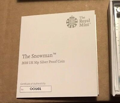 Snowman 50p C.O.A 161 Silver Proof 2018 Very Low C.O.A Only 15000 Royal Mint