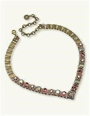 Victorian Trading Co Autumn Haze Rhinestone Seed Pearl Brass Charm Necklace New