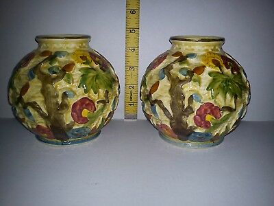 Fantastic Example of Vintage H J Wood Indian Tree Hand Painted Vases - A Pair Of