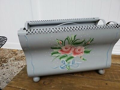 Vintage Toleware Magazine Rack Holder Metal Tin Soft Blue Pink Floral Bouquet