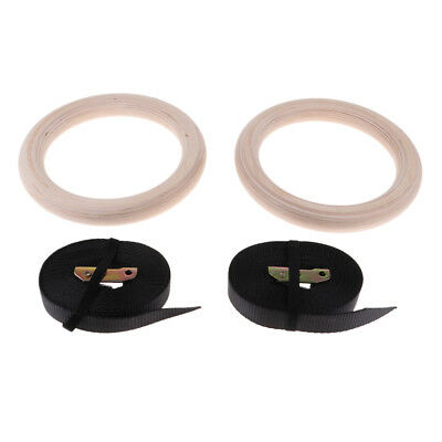 Pair Wooden Gymnastic Rings with Adjustable Straps Belt with Cam Buckles