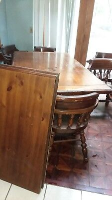 Vintage Large Pine Dinging Room Table & 6 Chairs  Used Good Condition