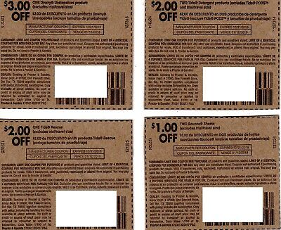 TIDE BOUNCE DOWNY COUPONS - SAVE $8!! - HURRY!! - Expires 12/31/18