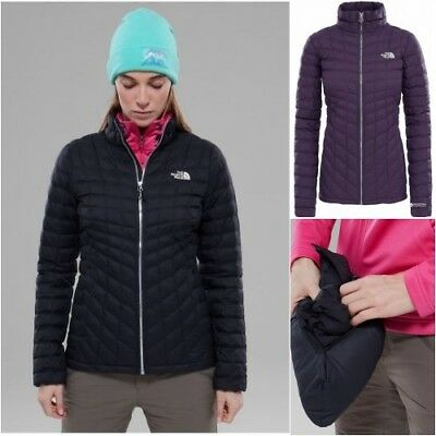 NWT Women's THE NORTH FACE Thermoball Quilted Zip Up Jacket Coat Black Purple